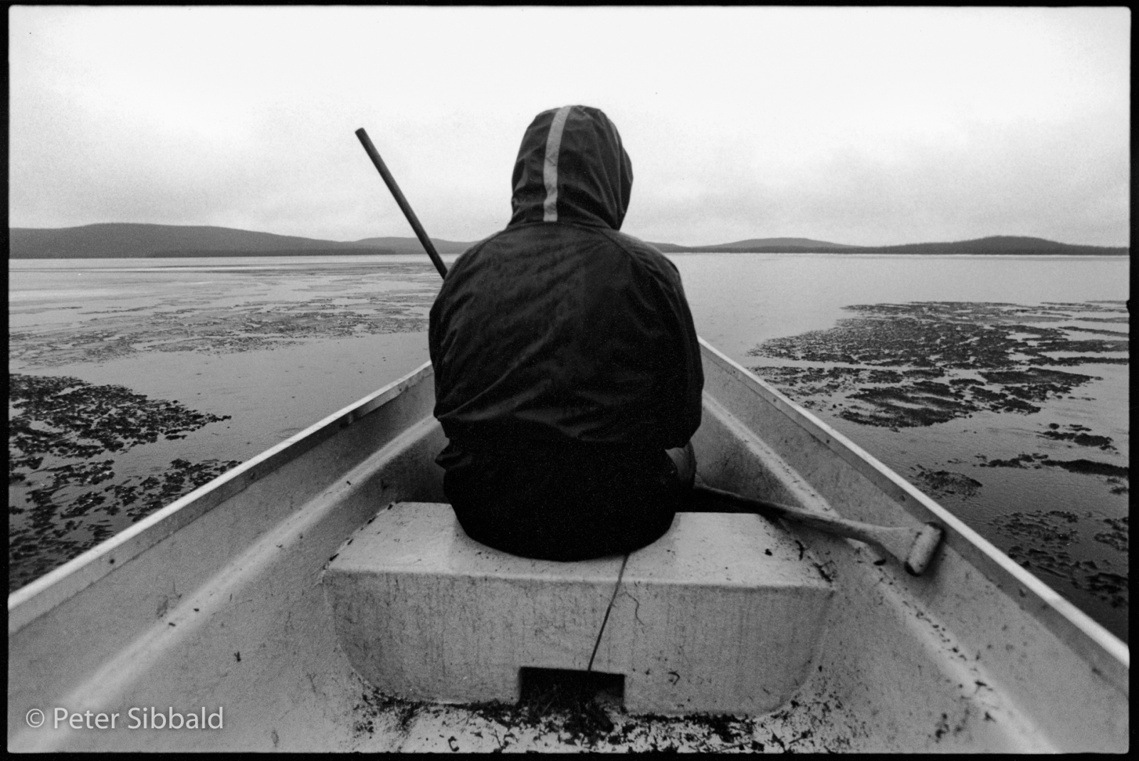 Penashue family camp, Lake Minnipi, Nitassinan . /Labrador. While his brothers push their canoe through the spring-break-up, Jack Penashue keeps a lookout for ducks from the bow seat.