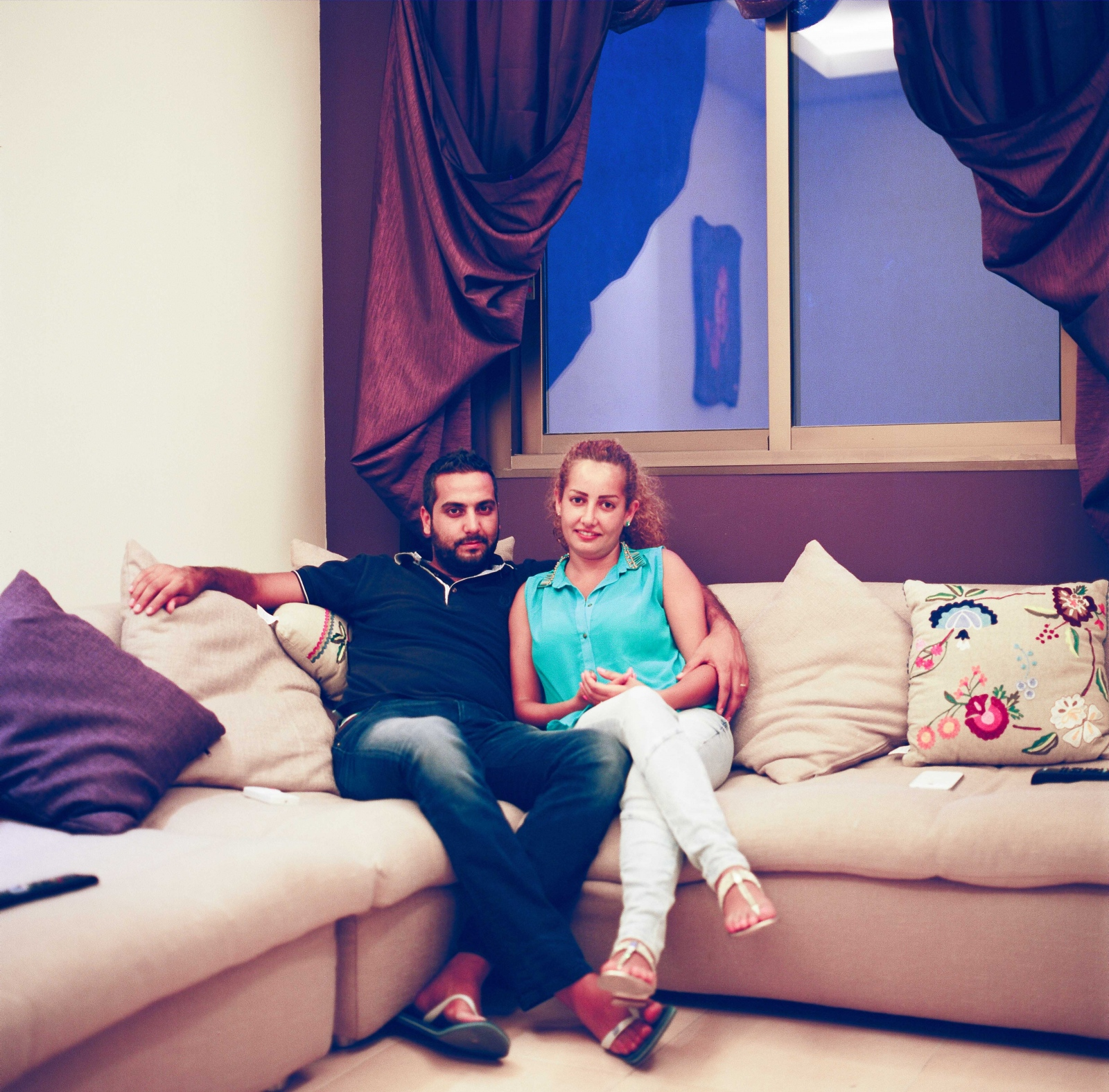 "Beirut, LEBANON, July 19, 2013: Chaza Khalil and Tony Dagher, pictured inside their apartment in Beirut Jdeideh, are the second Lebanese couple to have a civil marriage in their home country.""We have a three-minute video clip ready that will be broadcasted on Lebanese TV once our contract got approved. We had a videographer with us recording the whole process; so that other couples know which steps they have to take. It's like a manual for civil marriage in Lebanon, if you like"", Chaza says."