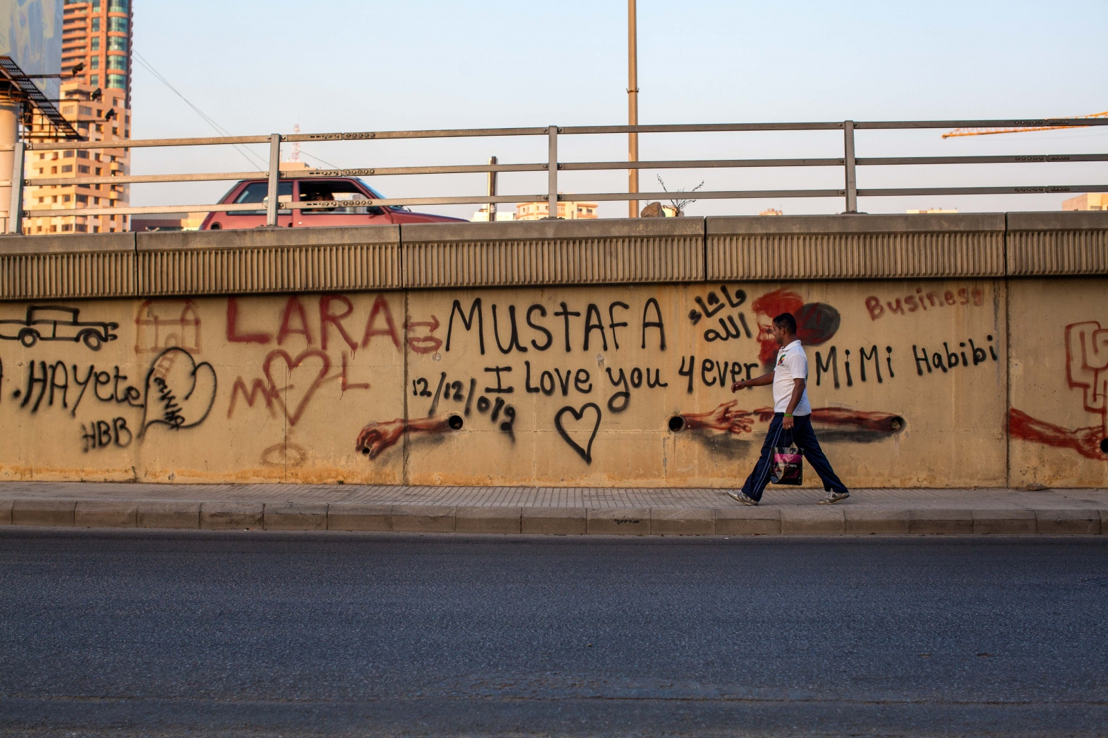 Beirut, LEBANON, July 16, 2013: Many of Lebanon's highways are tagged with Graffiti love messages. The Lebanese are some of the kindest people I ever met, as their struggles and stories reflect the history they have lived.