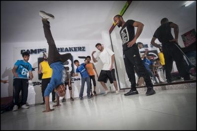 Training at Camp Breakerz dance center in Nuseirat Camp, Gaza Strip.