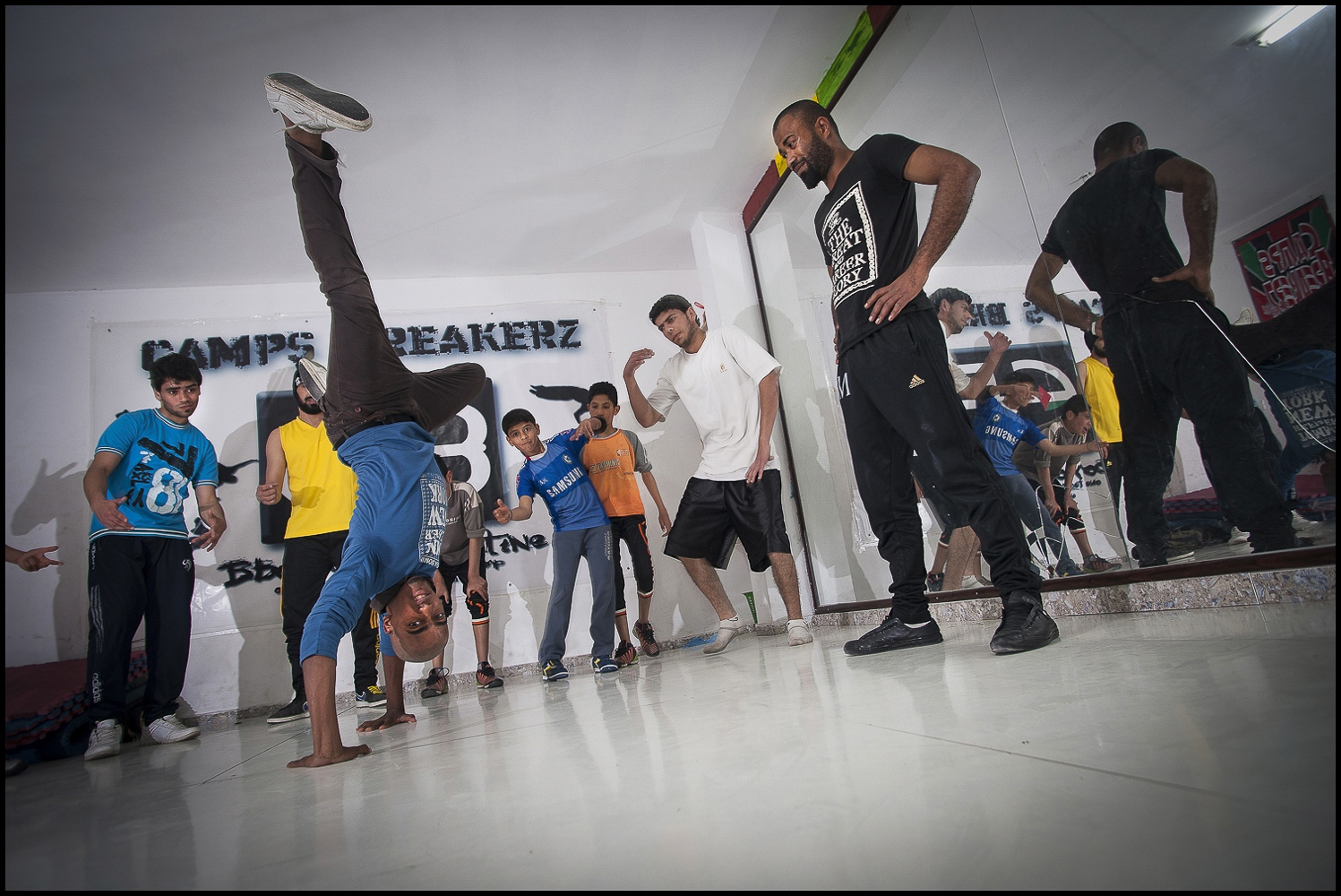 Training at Camp Breakerz  dance center in Nuseirat Camp, Gaza Strip.