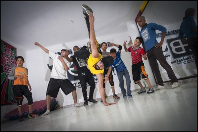 Shaark at Training with Camp Breakerz in their dance center in Nuseirat Camp, Gaza Strip.