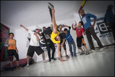 Shaark atTrainingwith Camp Breakerz in theirdance center in Nuseirat Camp, Gaza Strip.