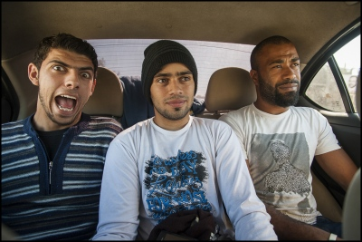 Hanson, Jarule and Chino on route to Alwaha Resort through Nuseirat Camp in the Gaza Strip.
