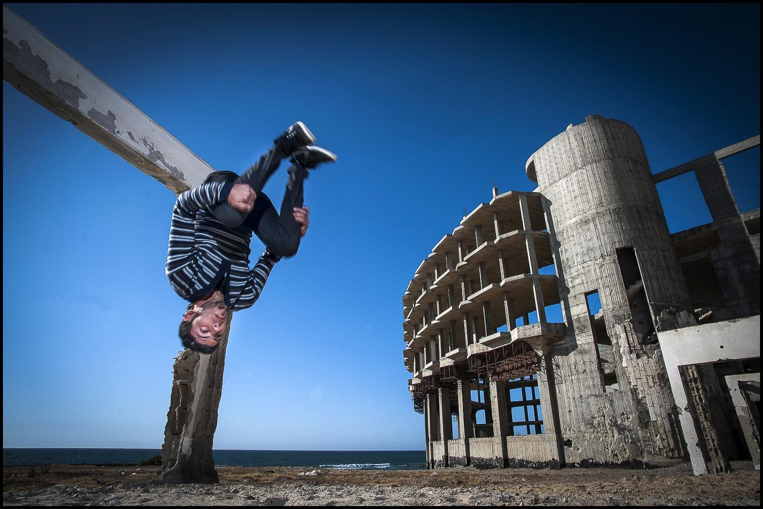 Hanson goes airborne at Alwaha, Northern Gaza, occupied Palestinian territory.