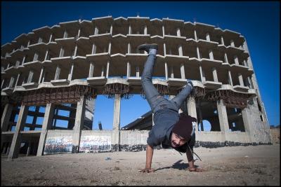 Shaark (25 year old Ahmed Al-Ghraiz) at Alwaha, Northern Gaza, occupied Palestinian territory.