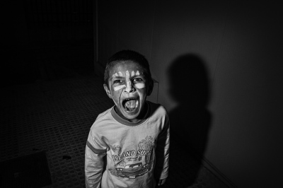 A Roma boy with adjustment problems plays while he is taken care of by Social Services from the City Council of Seville.