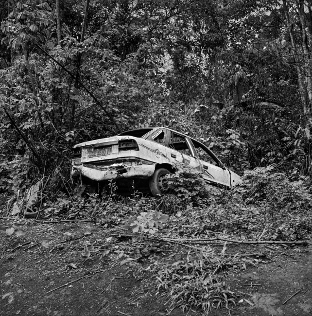An abandoned car near village of Mantisone, Dja Faunal Reserve.