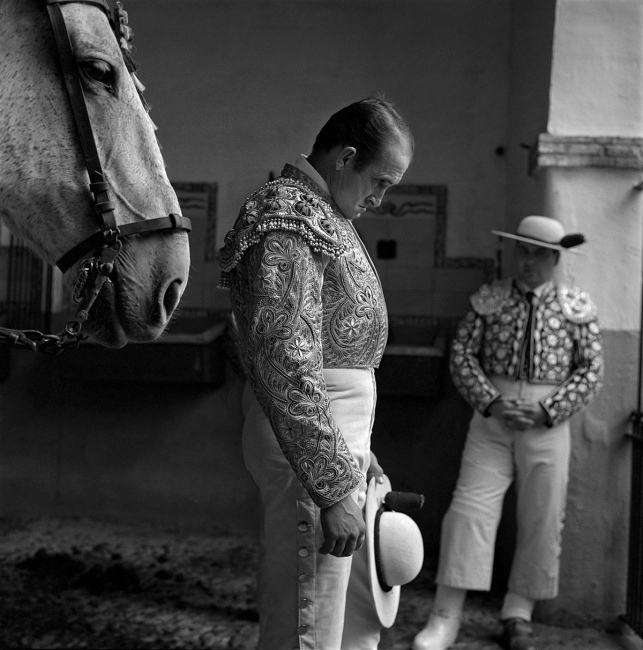 """The """"picador"""" Juan Francisco Peña, meditates in the horse yardmminutes before entering the ring. Seville."""