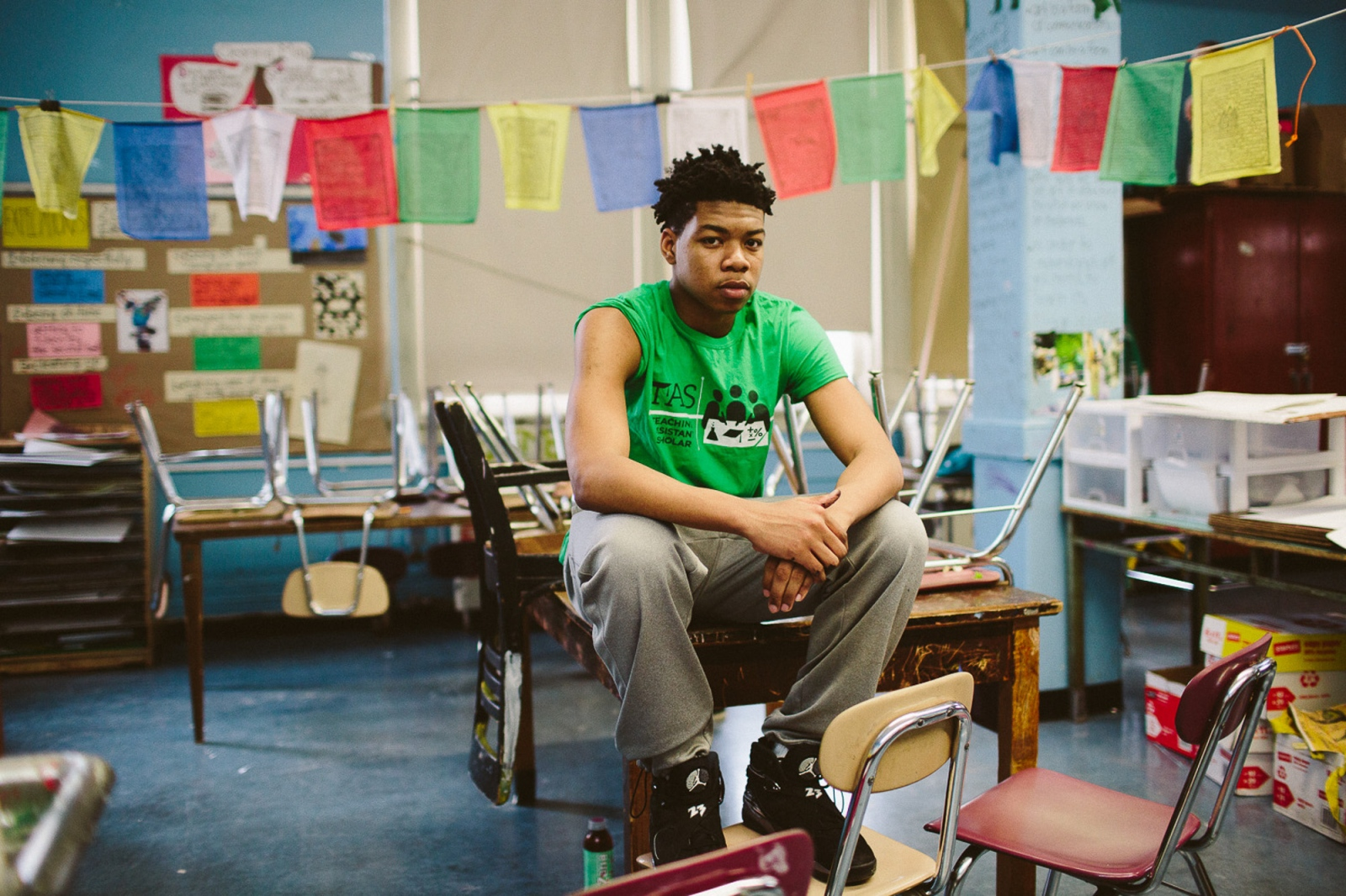 Jamal, 16, inside the art room at his school in Park Slope, Brooklyn on February 7, 2016. Jamal and his classmates are painting a mural with a message to promote school integration and scanner free schools.