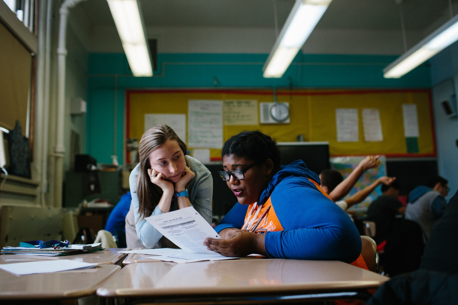 Kastia Colon works on a study sheet with her U.S. History teacher Miss. Konrad in February 2016.