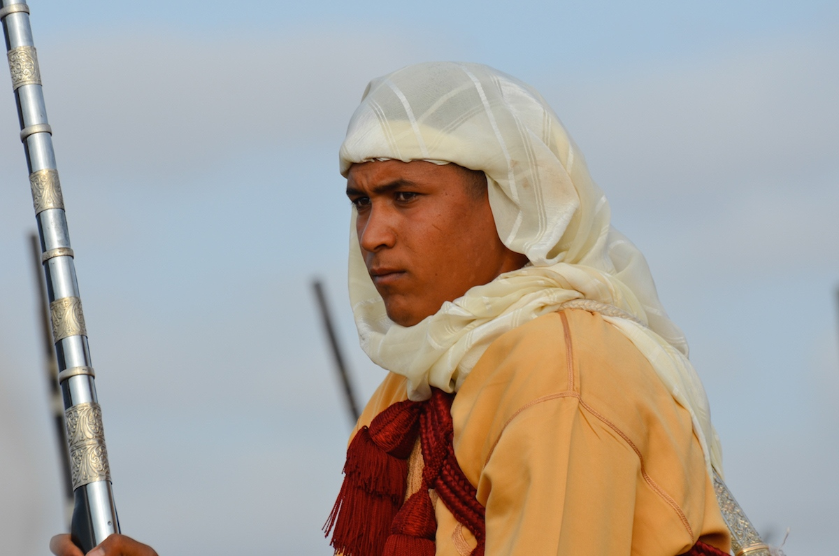 Reflective young horseman, mentally preparing for a pending charge, Oued Merzeg, Morocco