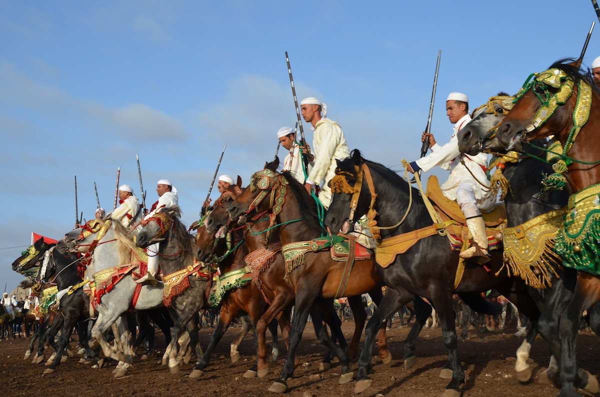 Line of horses and riders move forward in the moments before the start of  a charge. Oued Merzeg, Morocco