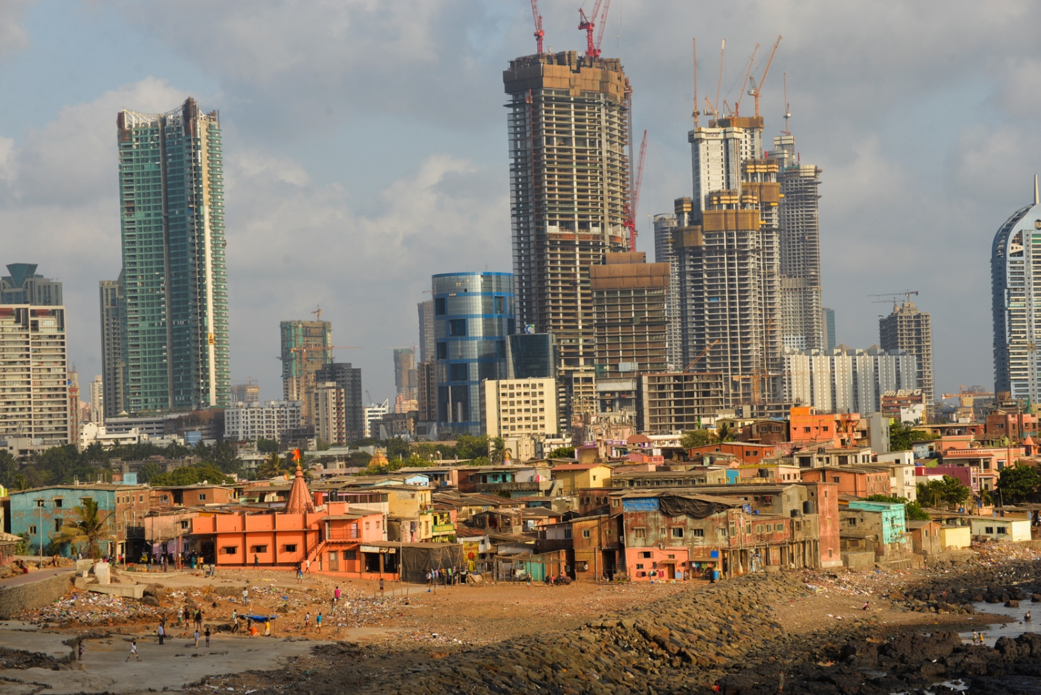 Worli fishing village surrounded by high-rise construction. Mumbai, India.