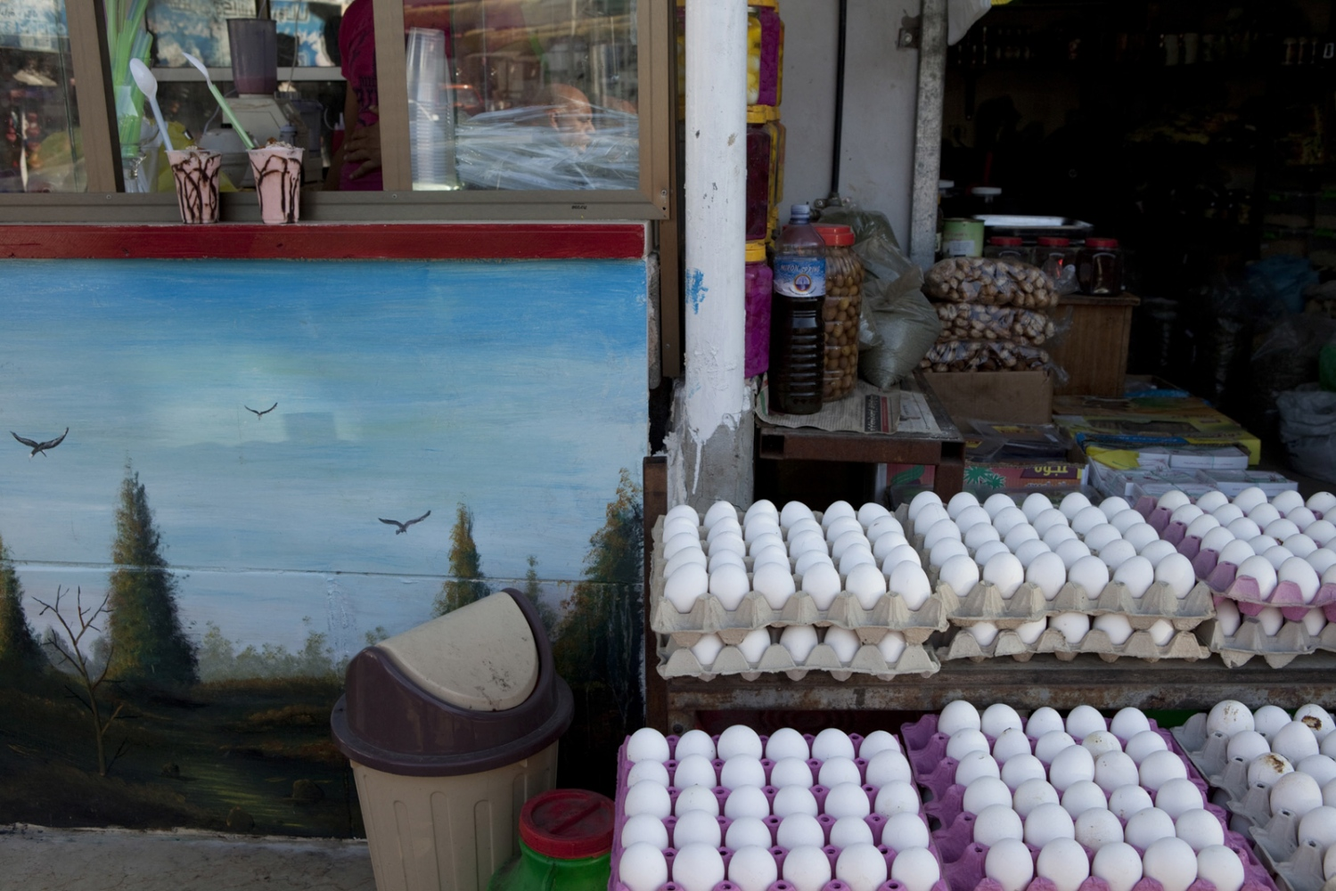 The Palestinian village of Barta'a is bisected by the Green Line, but sits 5 km on the Israeli side of the Barrier. The milkshake kiosk on the left is Palestinian, and its owners have green ID's, which prevent them from moving into Israel proper. They can however move inside the village, allowing them to buy eggs from the Israeli Arab store on the right.