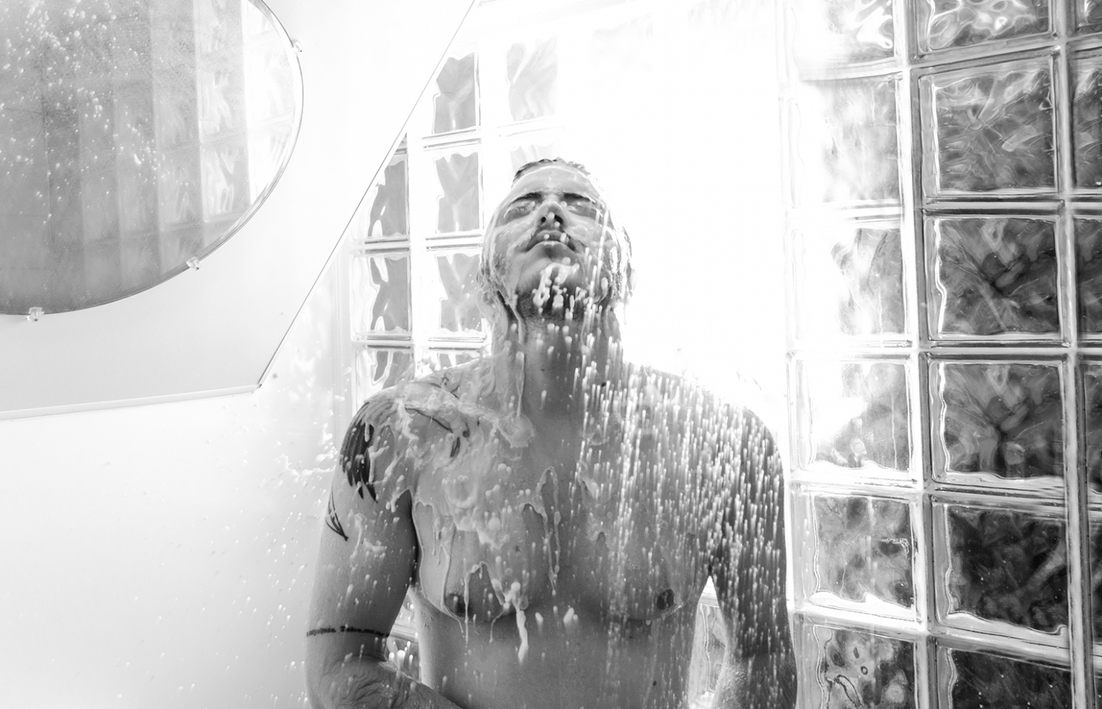 "Harrison in Shower, December 2013 ""Now I feel like I can say I'm a self made man, I've worked really hard to be who I am and where I am."" -Harrison"