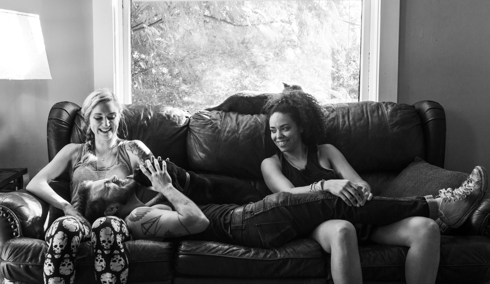 """Harrison With Elle and Shelby, September 2015 Harrison plays with Shelby's dogs and lounges with his friends before helping make food for their weekly """"Family Dinner"""" gathering."""