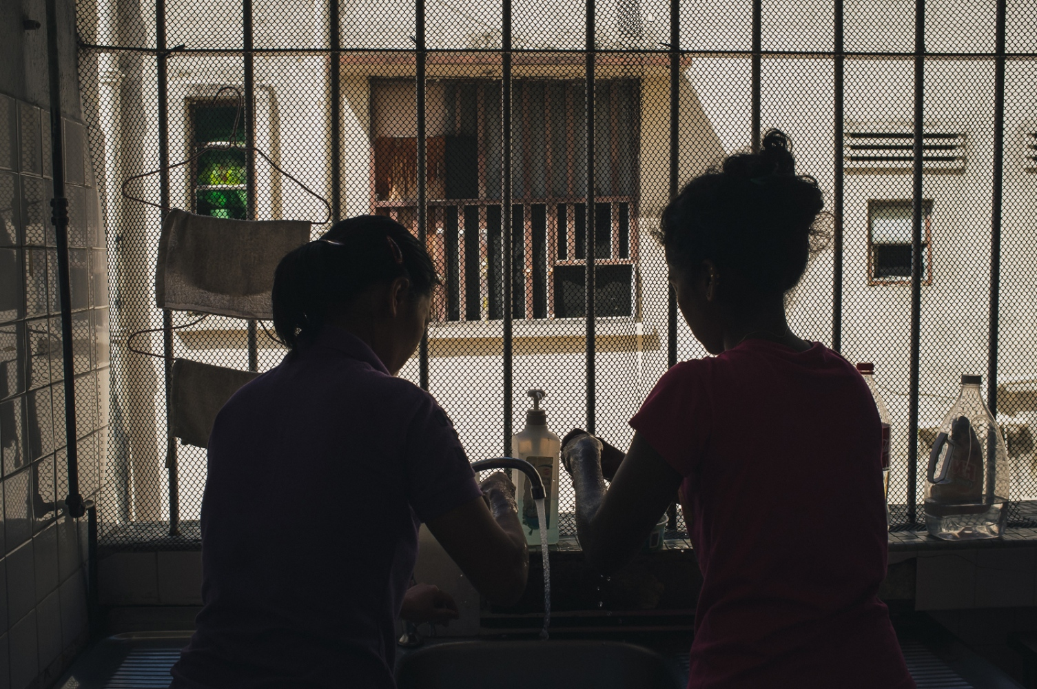 Foreign domestic workers housed at a shelter run by The Humanitarian Organisation for Migration Economics (HOME), an organisation that provides direct assistance to men and women migrants and victims of human trafficking and forced labour. Abuse of domestic workers ranges from physical and verbal abuse, sexual assault, punative action for perceived wrongs, violation of contracted rights and witheld pay. As Foreign domestic workers in Singapore are required by law to live with their employer, many who suffer abuses feel they have no choice but to run away and seek shelter with their embassy or NGOs such as HOME.