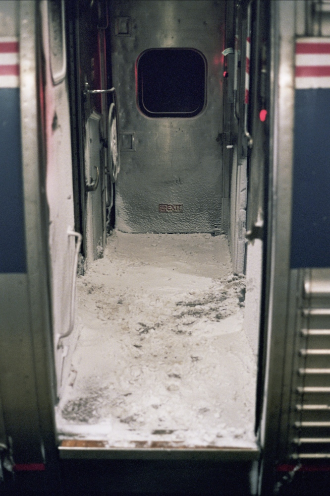 Snow on the train, Providence, RI