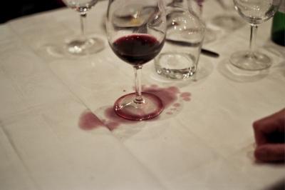 Spilled wine after dinner, Paris, France