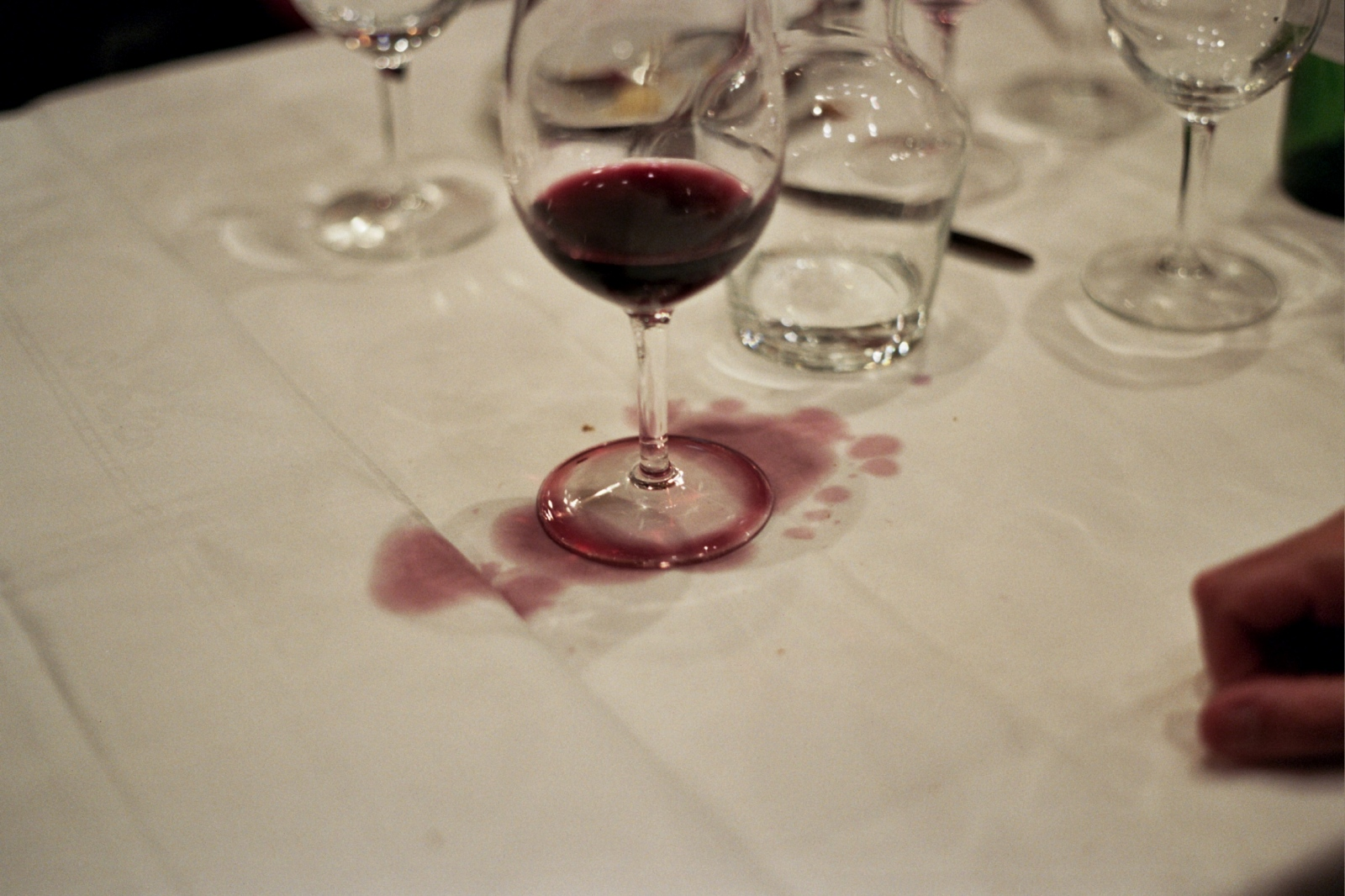 Spilled wine after dinner, Paris, France