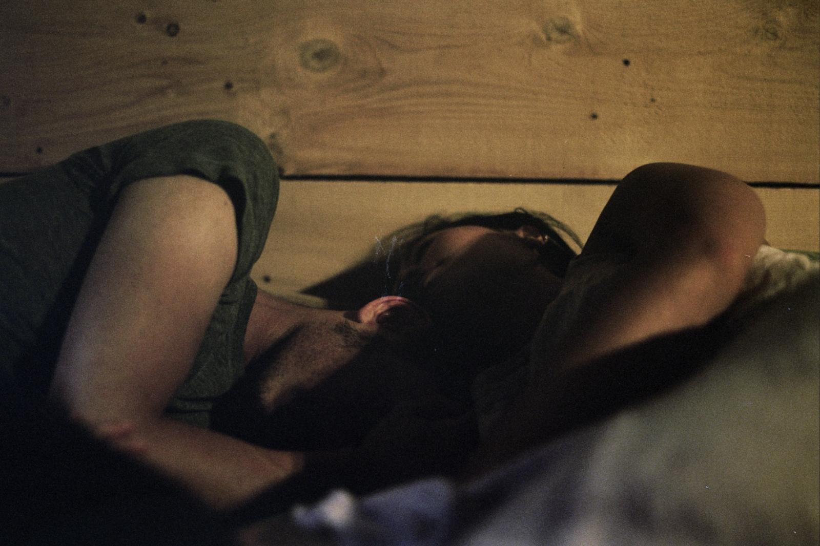 Bobby and Monica asleep in a cabin, Roscoe, NY