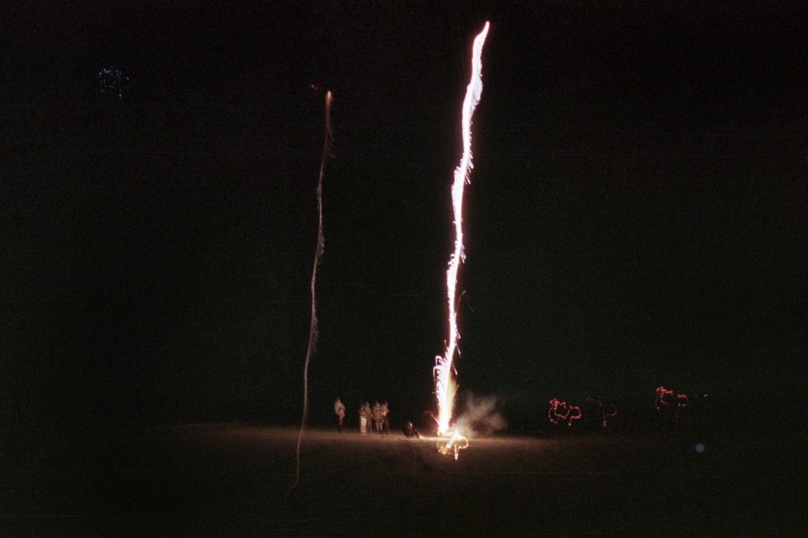 Setting off fireworks, Ryder Beach, MA