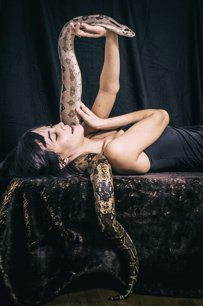 Francesca with her friend's snake