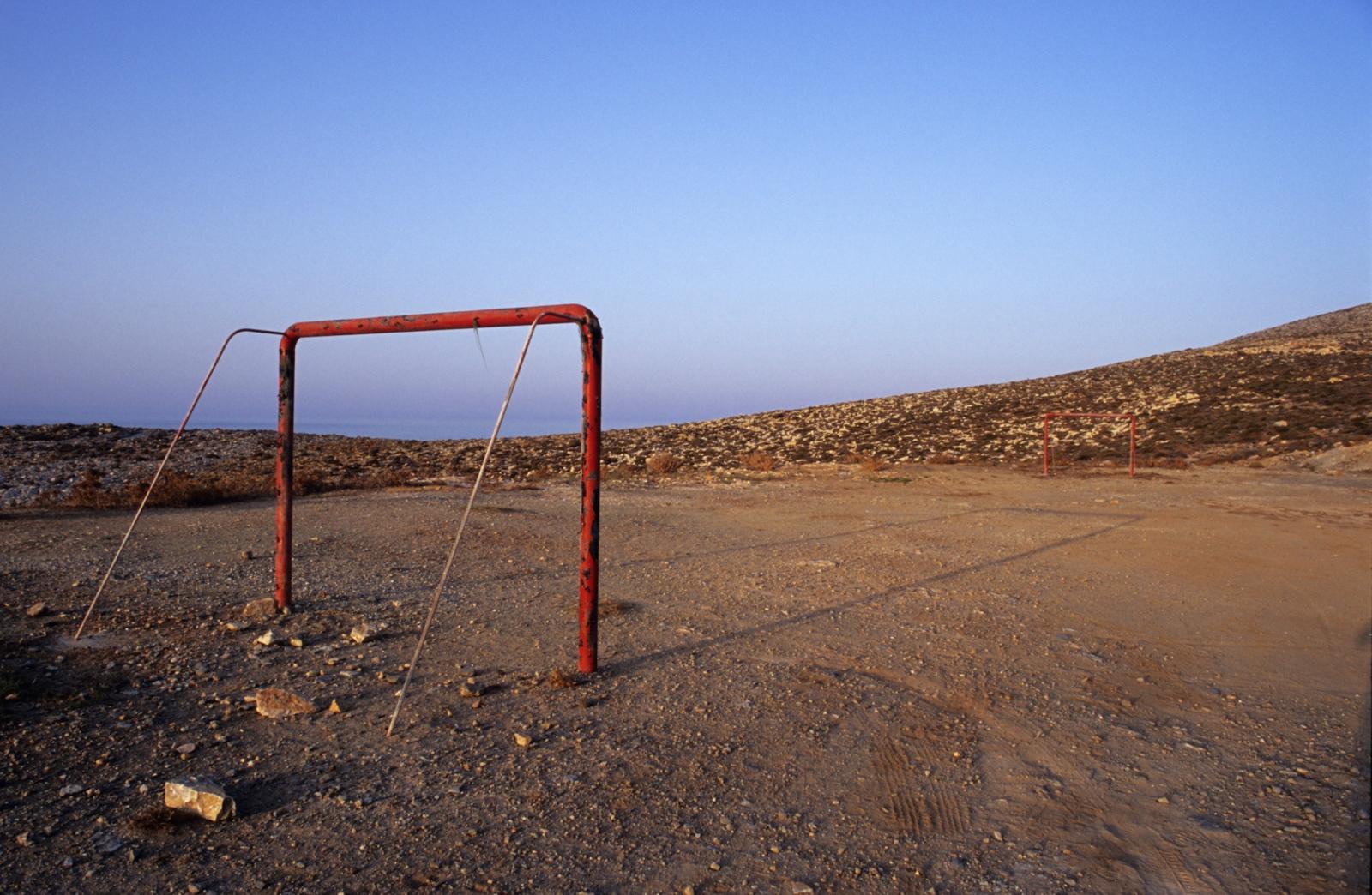 Football field. Serifos island, Greece.