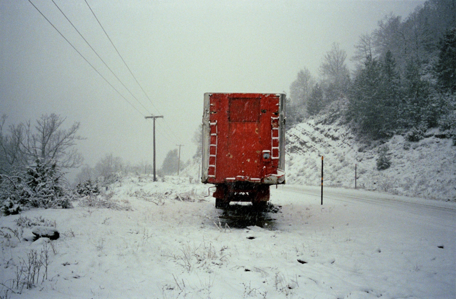 Red truck. Near Grevena, northern Greece.