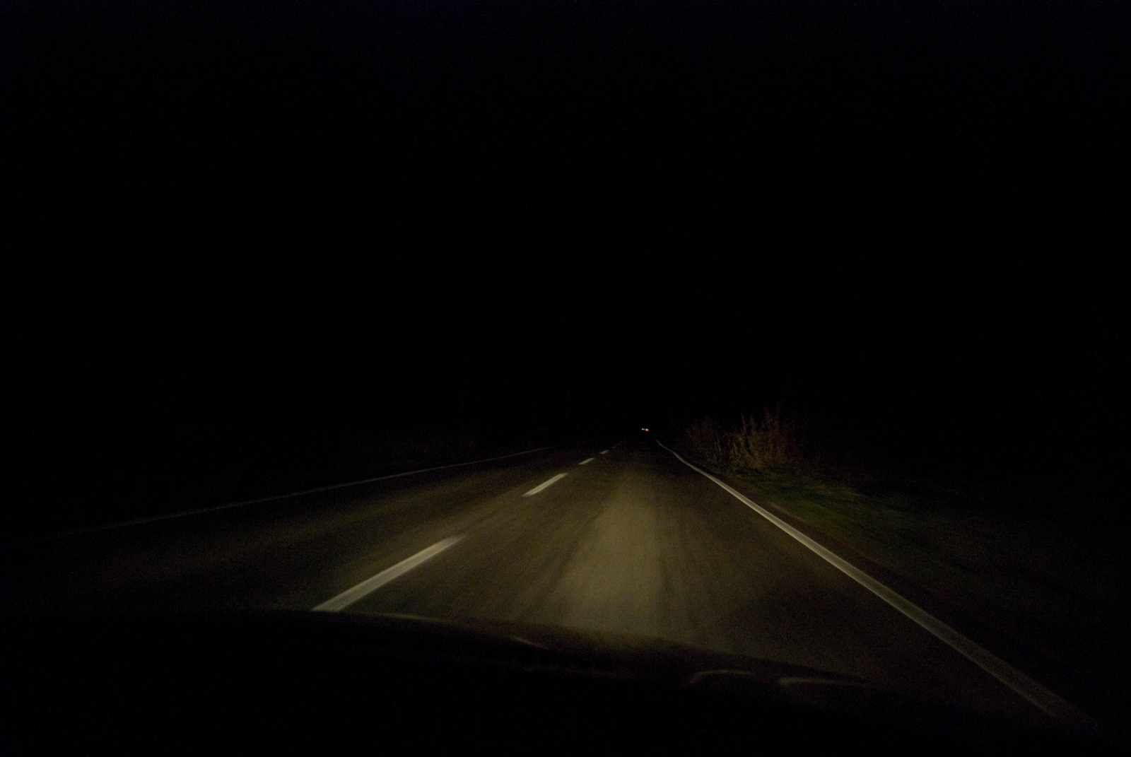 Driving by night, northern Greece.