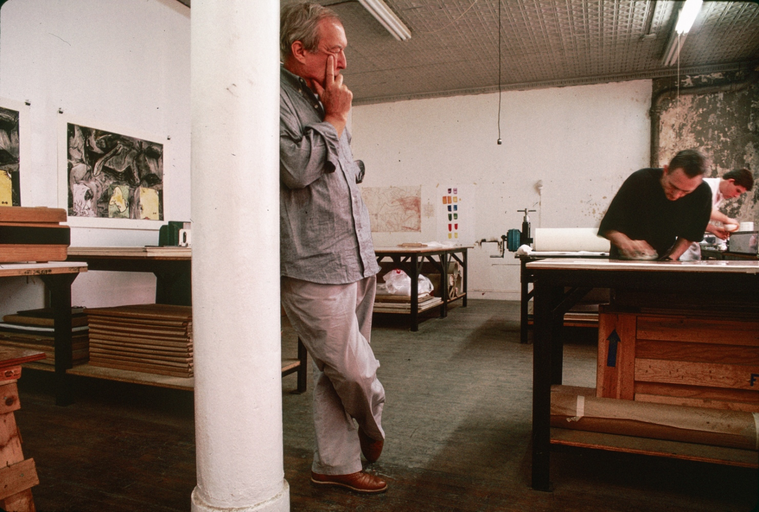 Jasper Johns in his studio, New York City 1985