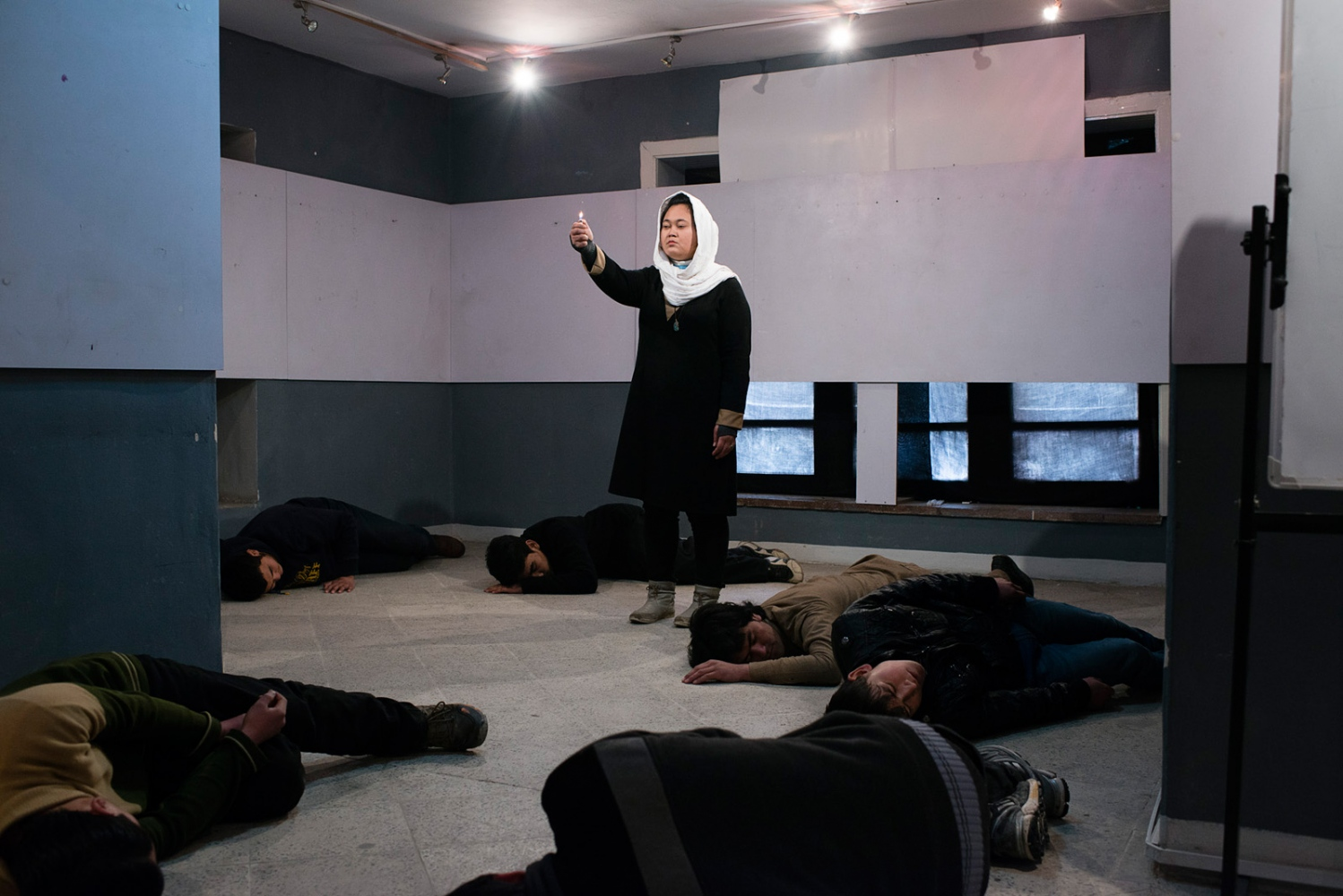 "KABUL, AFGHANISTAN | 2015-02-26 | Rehearsal of ""Death Puzzle"", an experimental play, by Kaveh Ayreek and his crew, Mim theatre group."