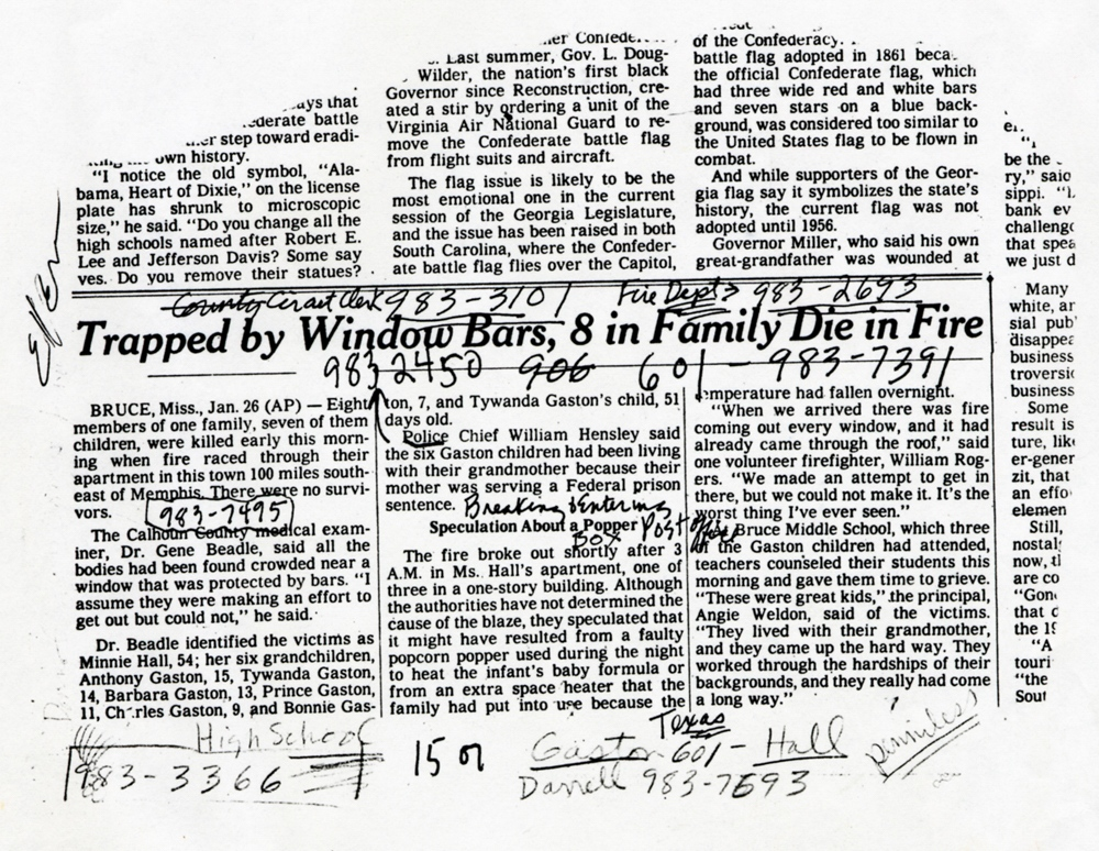The brief article in The New York Times that prompted DF to reach out to residents of Bruce and take a trip to photograph the family of the victims. When she returned, she pitched the story to many magazines before People agreed to send her for a second trip. 1993