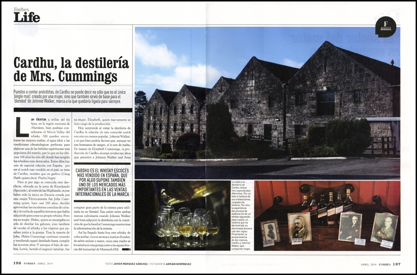 Cardhu destillery for Forbes (Spain) 2 pages