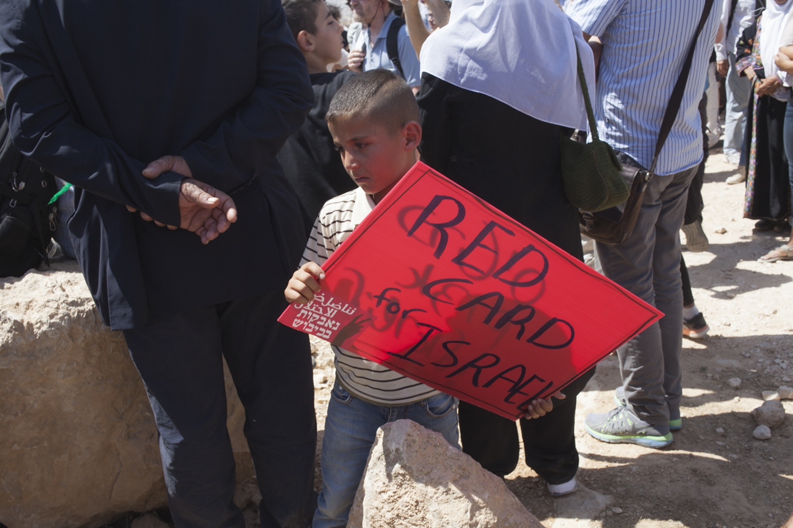 Boy with sign, Palestine 2015.