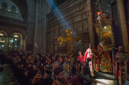 A ray of sunlight shines through during Greek Orthodox church services at the Holy Church of Sepulcher in Old Jerusalem, Israel April, 19, 2014. Photo Ken Cedeno