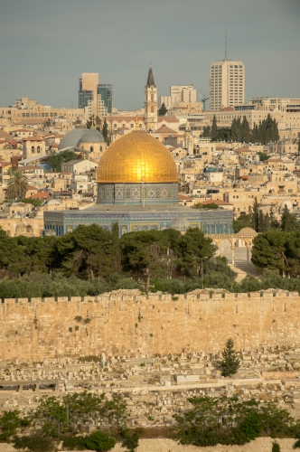 Early morning light shines on the Dome of the Rock as seen from Mount Olive April, 24, 2014 in Old Jerusalem, Israel. The Dome of the Rock is one of the oldest works of Islamic architecture. Photo Ken Cedeno