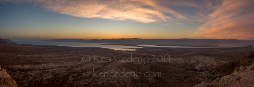 A panoramic view of the Dead Sea, from the top of The Fortress of Masada, Israel April, 23, 2014. Photo Ken Cedeno