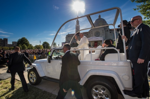 Pope Francis, 78, waves to the press before he conducts mass and the Canonization of Blessed Junipero Serra at the Basilica of the National Shrine of the Immaculate Conception /The Catholic University of America, Sept 23, 2015 in Washington DC. Serra was the 18th century Franciscan missionary who founded missions and evangelized in California. This is the first canonization on US soil, and the Popes first visit to the United States.
