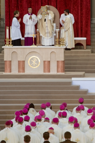 Pope Francis, 78, conducts mass and the Canonization of Blessed Junipero Serra at the Basilica of the National Shrine of the Immaculate Conception /The Catholic University of America, Sept 23, 2015 in Washington DC. Serra was the 18th century Franciscan missionary who founded missions and evangelized in California. This is the first canonization on US soil, and the Popes first visit to the United States.