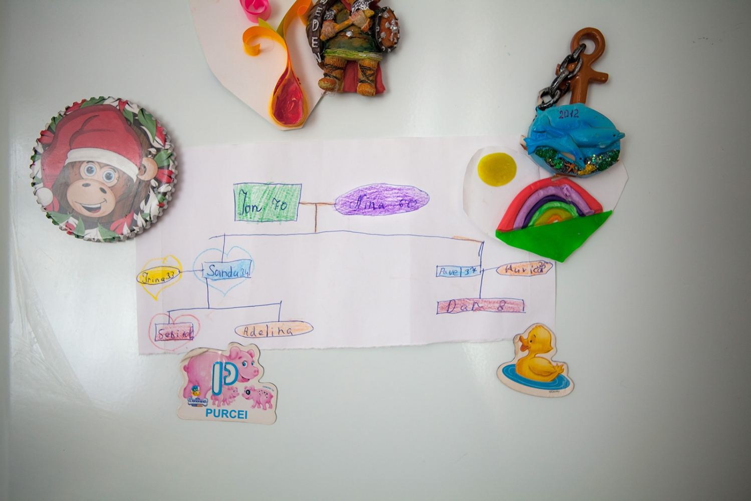 Ion and Nina have hung a family tree made by their grandchildren on their refrigerator, which is held up, in part, by handmade gifts. Many deportees talk about how, despite the hardship they faced in the past, they are happy with their lives now, in part because they are so close to their families. Ion and Nina's home is filled with their children, grandchildren, brothers, nieces and nephews everyday.