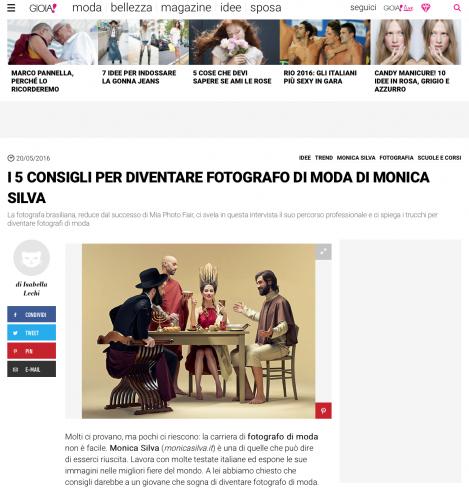 Gioia Magazine Italy   http://www.gioia.it/idee/trend/consigli/g696/monica-silva-consigli-fotografo-moda/