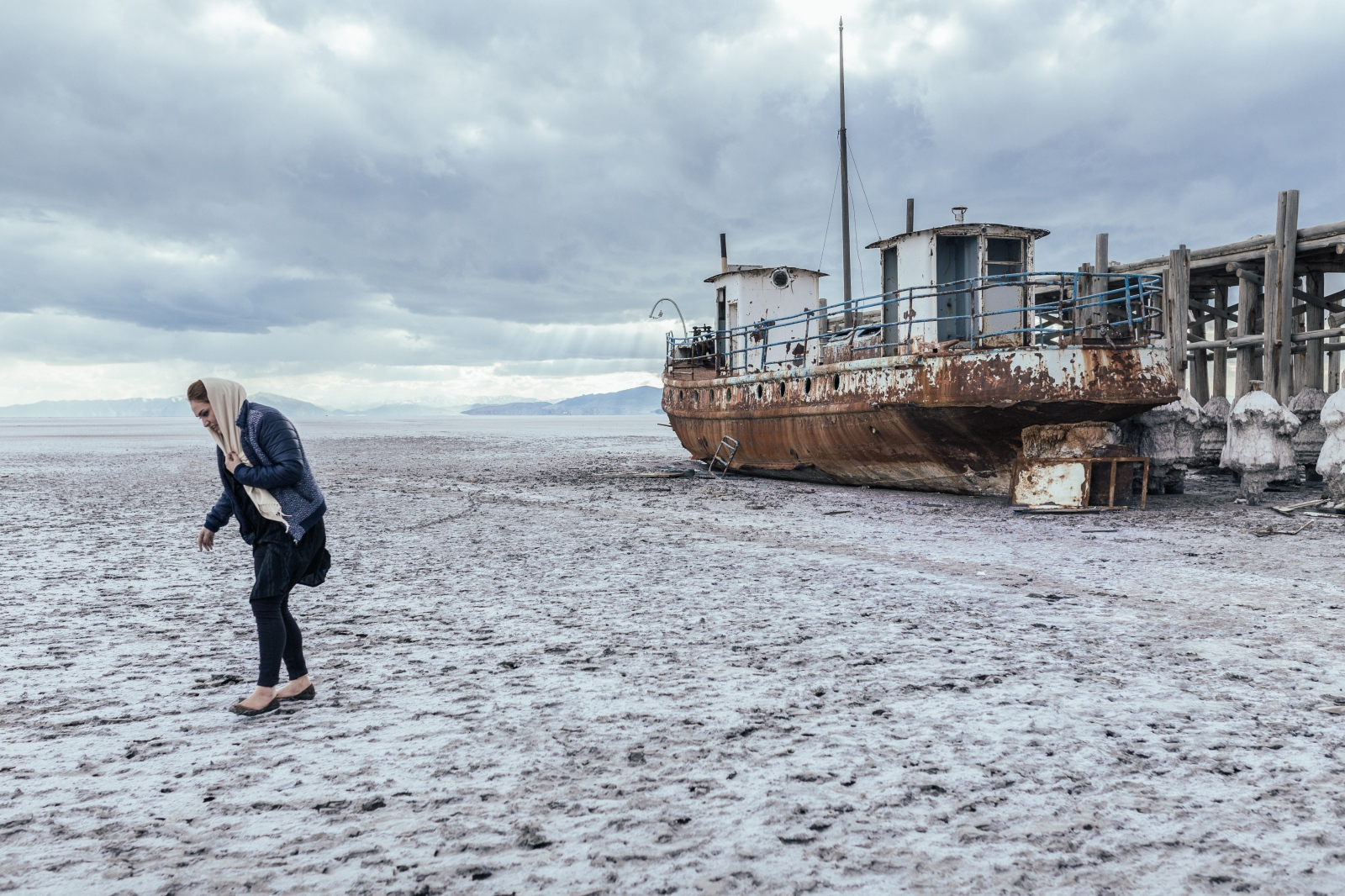 A dilapidated ship located at the northeast of Lake Urmia. Sheikh Wali used to be one of the heavily traveled touristic villages. by the lake becoming dry, the value of the surrounding lands were reduced and created great financial problems for families. Lake Urmia |East-Azerbaijan|Iran.2015
