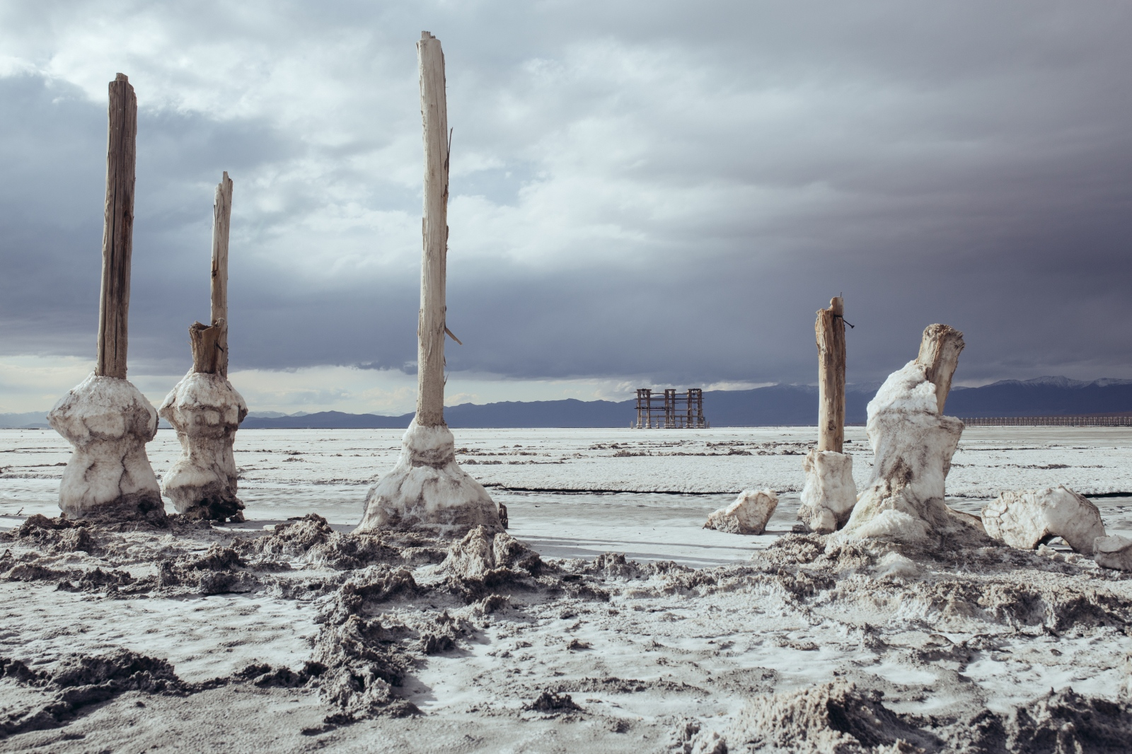 remnants of a dilapidated dock in Lake Urmia.Lake Urmia|East-Azerbaijan|Iran.2015