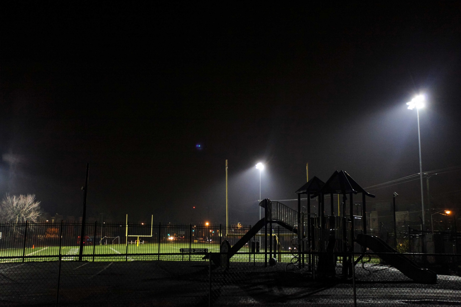 Field lights shine in the evening at Stanton Elementary as many of the teachers go home. Most teachers at Stanton work 12 hours a day or more on Mondays through Fridays and even sometimes on Saturdays.