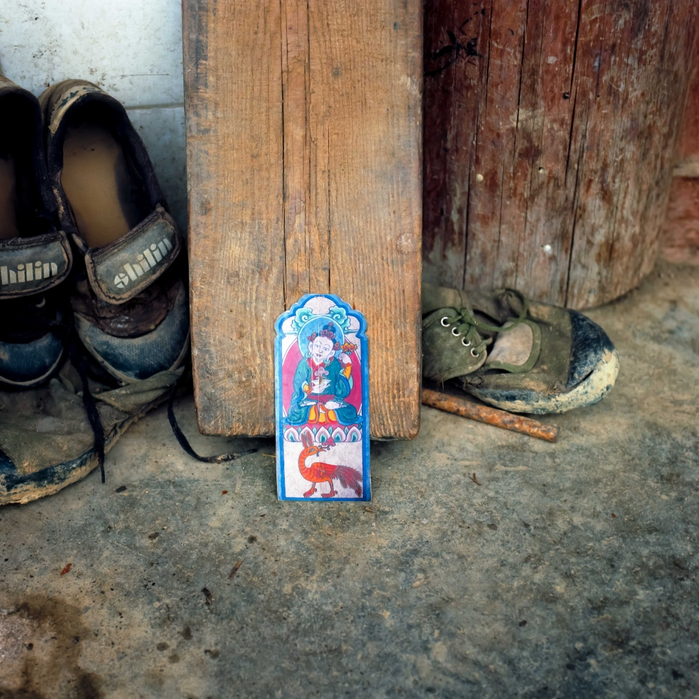 When asked to pull a shaman card from a pack in a rural Naxi village in rural Yunnan I pulled the medical card depicting a Naxi god associated with health and the medical profession.
