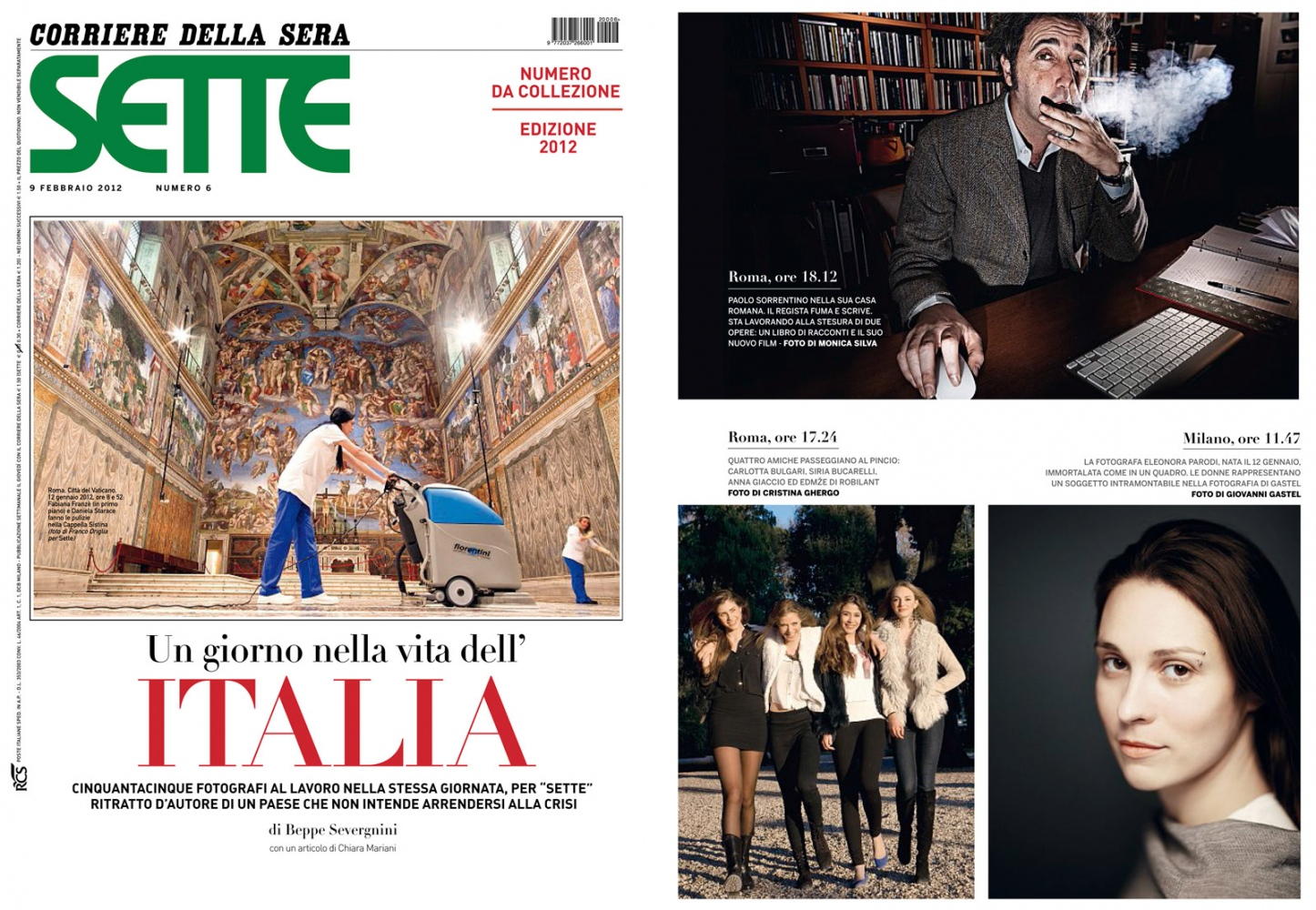 SETTE (Corriere della Sera)  A day in the life of the italians special edition PAOLO SORRENTINO Italy 2012