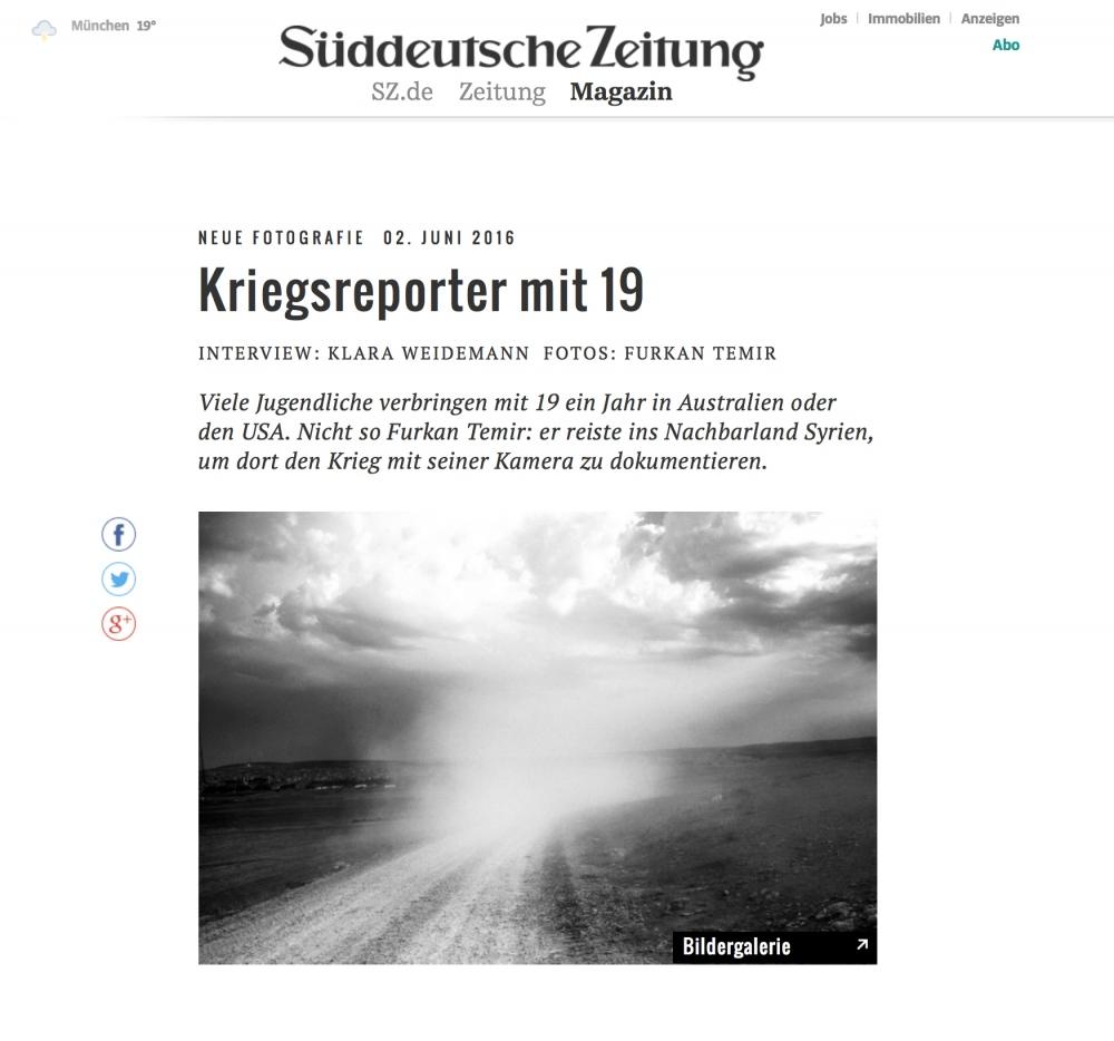 Feature On Suddeutsche Zeitung Magazin By Furkan Temir