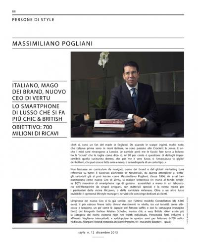 Style Magazine (Corriere della Sera) Massimiliano Pogliani Vertu CEO